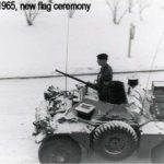 Ferret of 4th Canadian Infantry Brigade, in a new flag ceremony at Fort Chambly, West Germany. (ruhrmemories ca 4cibg)