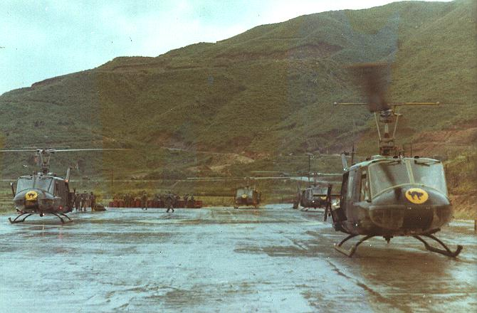 "Hueys Black Cat 282 Asslt Helo Co Huey helicopters in Vietnam. Camp Reasoner (DaNang) between 1967-1971. 282nd Assault Helicopter Company ""Black Cats"". - Colin Stevens' Collection."