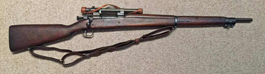 A late 1943 M1903A4 serial number 34221XX. This rifle is original with the blued finish but the M73B1 scope has been refurbished by the military.