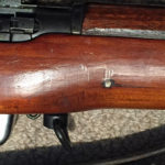 No.4 MK. I* (T) sniper rifle mae by SAL at Long Branch in Canada. Serial number 68L3200. This one has the Ishapore screw which was a typical Indian military modification. Right side shown.