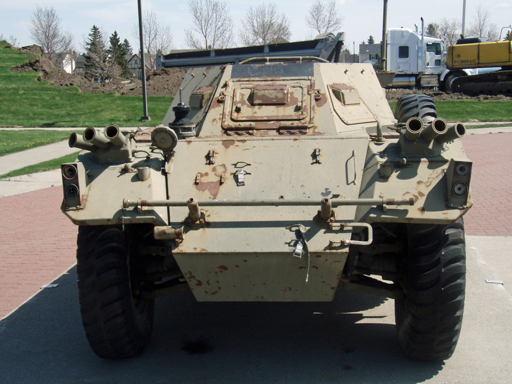 Front view of Ferret AScout Car monument. British Army Ferret MK. II missing its turret. Note the MG stopping rail at rear. Ex-BATUS at Suffield. Military Museums, Calgary, Alberta