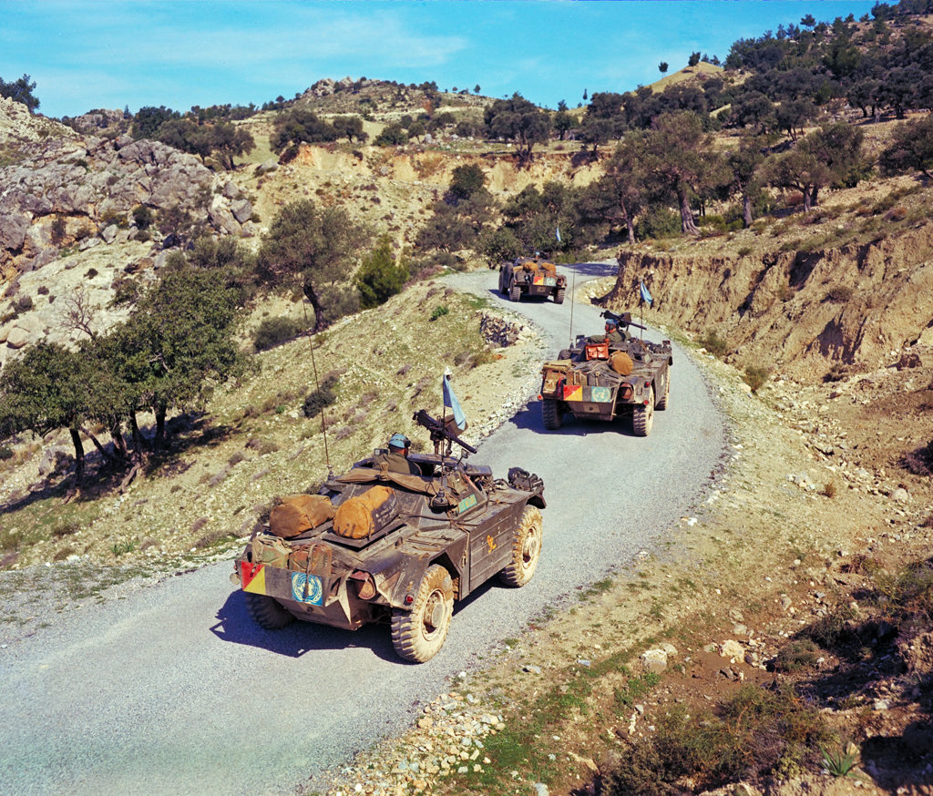 1967 Ferret convoy in Cyprus with UNFICYP. DND photo PCN67-107
