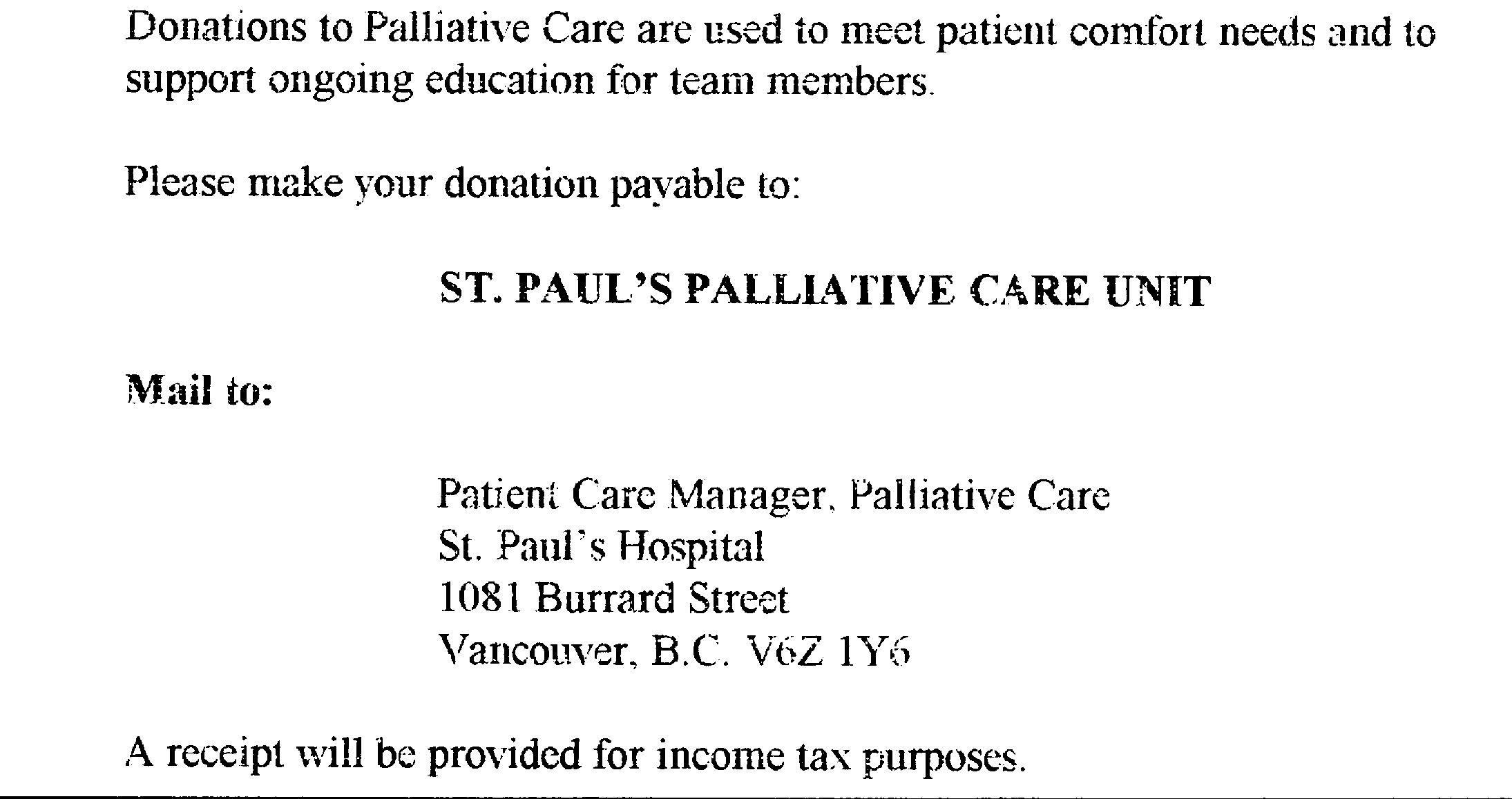 Information about the Palliative Care Unit at Saint Paul's Hospital, Vancouver, British Columbia