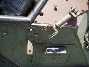 Ferret MK. I 54-82598 looking down onto the Browning MG base mount brace arm used when the gun was securing for driving.