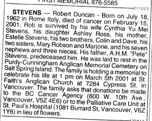 Rob Stevens' obituary Vancouver SUN newspaper 2001 Feb 28