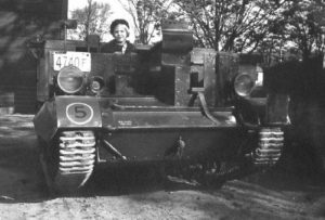 Universal Carrier Mark I shown in 1941 with a girl on board.