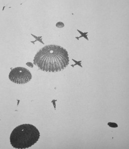"1 Canadian Parachute ba5ttalion jum,p in England before D-Day. This is believed to be their Training Company. They are using ""X"" Statichutes and jumping from C-47 Dakotas."