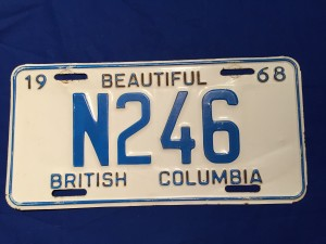 BC military licence plate 1968 N246