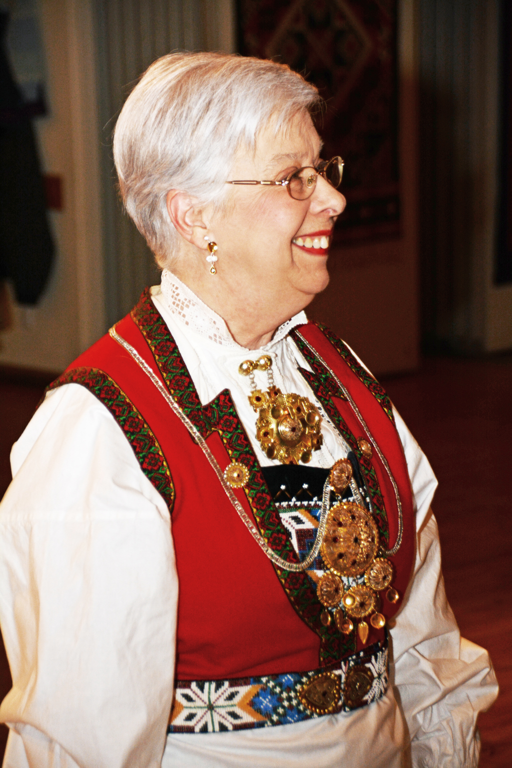 "Jeanette Stevens, nee Brue (old Norwegian spelling was Bru) wearing her ""new"" bunad."