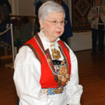 Jeanette Stevens in her Norwegian bunad at a Scandinavian Centre event, in Burnaby, BC, 2016.