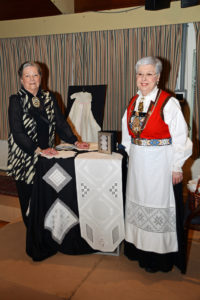 Jeanette Stevens in her Norwegian bunad at a Scandinavian Centre event, in Burnaby, BC, 2016. The lady on the left makes Hardanger Norwegian aprons etc.