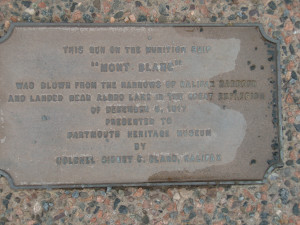 Plaque for cannon from the S.S. Mont Blanc. Cannon from the S.S. Mont Blanc - breech end. About the Halifax Explosion 1917-12-06