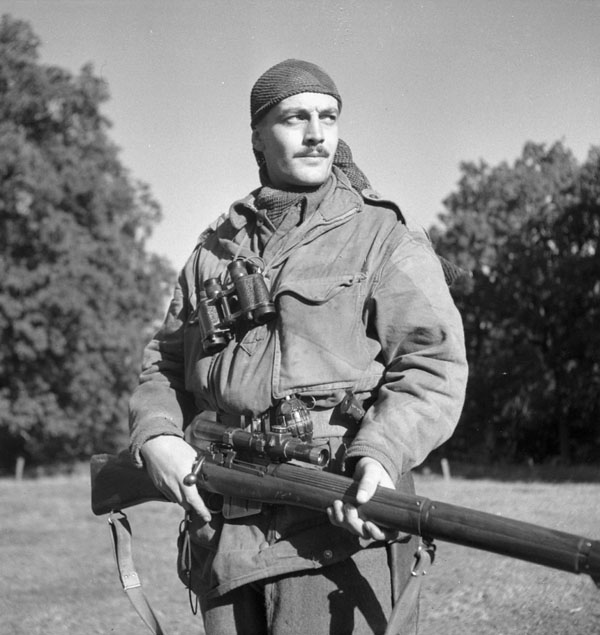 1944-10-06 Sgt. H. A. Marshall, a sniper with the Calgary Highlanders at Kapellen Belgium (L&AC MIAN 3206370)