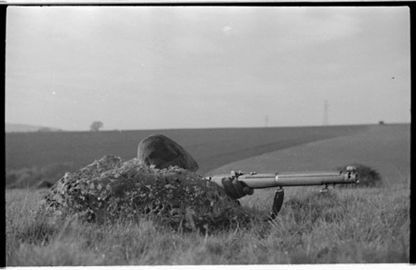 Early Canadian sniper training in UK with No. 1 MK. III / MK. III* rifle with iron sights. Circa 1941-1942? (L&AC MIKAN 3607512)
