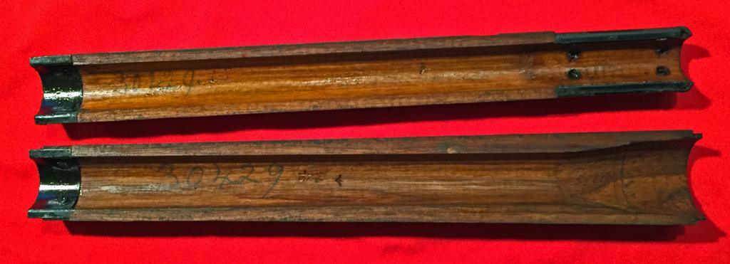 "1944 Lee-Enfield No4 MKI (T) BSA sniper rifle - underside of top wood showing serial number ""30429"" in pencil"