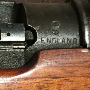 """No.4 MK. I (T) Lee-Enfield sniper rifle L30429 """"S"""" and ENGLAND stamps."""