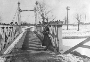 p74-3 #1 Section 19th Regt Welland Canal Force Guard on bridge