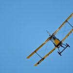 Rear view of World War I replica biplane