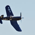 """F4U-7 """"Corsair"""" fighter in U.S. Navy markings. This aircraft was a veteran of the Indo-China fighting 1953-1954, the Suez invasion (1956) and the Algeria. Three bullet holes had to be repaired. From the Erickson Collection, Madres, Oregon, USA.2016-07-23 Boundary Bay Air Show D90 Sigma 150-500 (702)"""