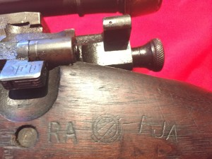 "M1903A4 Left side showing the markings ""RA (for Remington Arms, not Raritan Arsenal), Crossed cannons and FJA (Frank J. Atwood)"