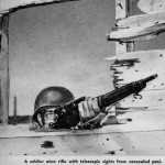 U.S. sniper with an M1903A4 published in March 1945. As noted this would not be a combat position as he is too exposed.