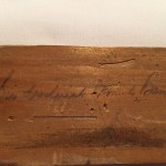 Luggage tag of Sir Frederick Banting from his fatal crash. Souvenir of Lieutenant A.H. Stevens, Lincoln and Welland Regiment. Close-up of Banting's signature.