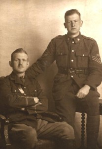 Brothers - Lieutenant Francis Vernon Heakes RFC and Sgt. Harold Harty HEAKES, McGill Siege Battery. Circa 1918.