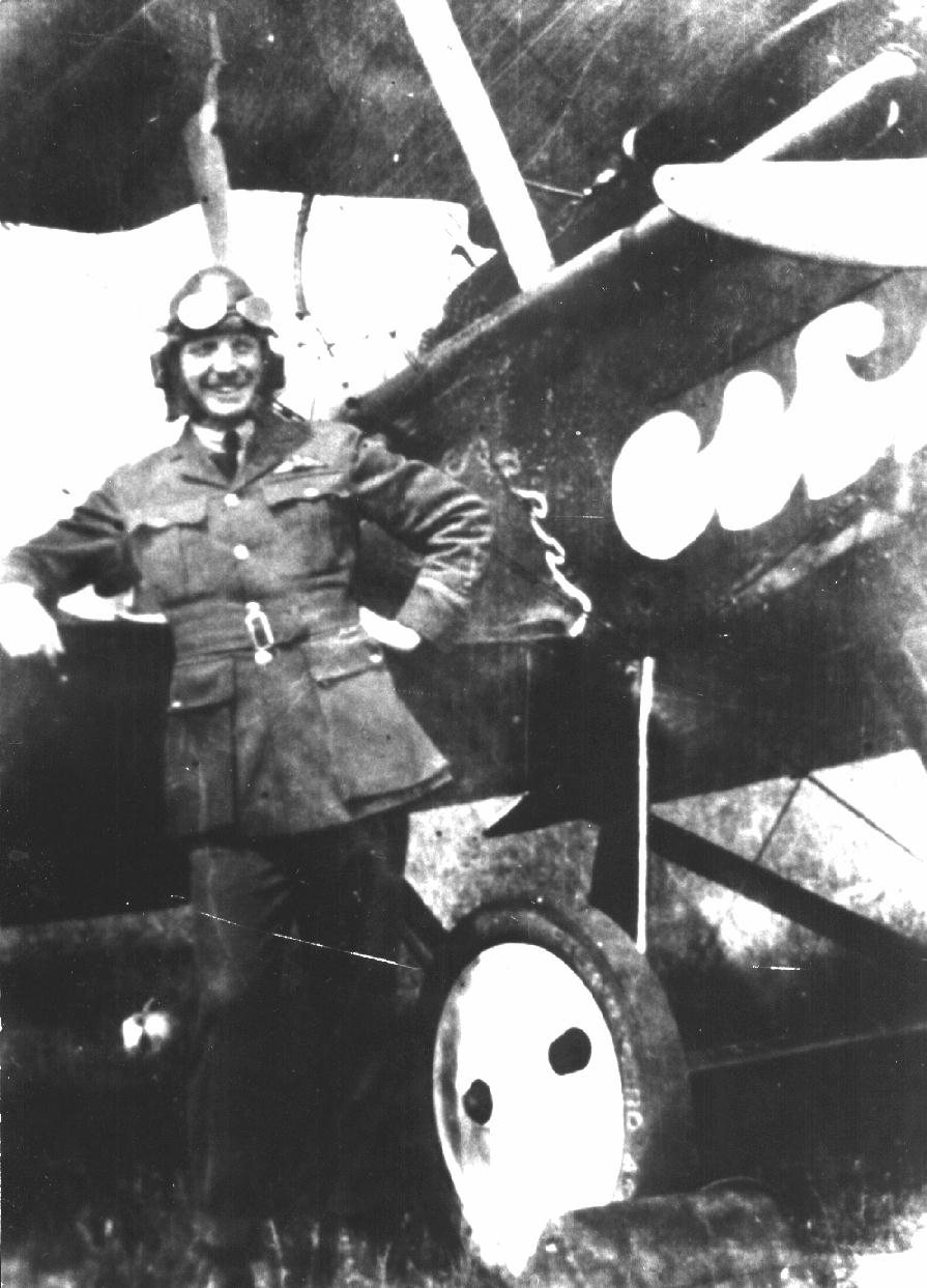 Flight Lieutenant Francis Vernon HEAKES, No. 1 Squadron, Royal Flying Corps, 1918 with his S.E.5a fighter aircraft