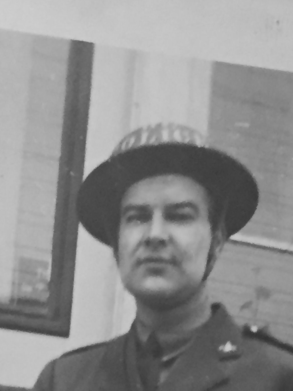 Ted BRUE BCPP circa 1942 wearing his issued BC POLICE steel helmet.