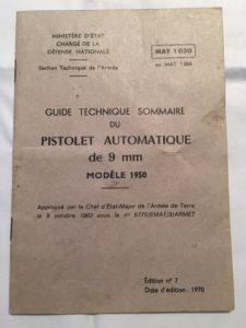 French manual on Pistolet Automatique de 9mm MODELE 1950
