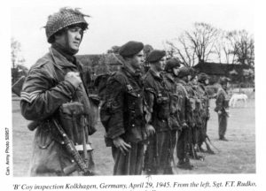 Canadian paratroopers lined up for inspection.