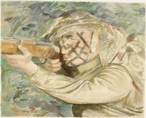 A Camouflaged sniper watching his target Llanberis, North Wales. Painting by PITCHFORTH, Roland Vivian 1943 (©-IWM-Art.IWM-ART-LD-3422)