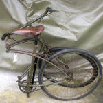 British Army BSA airborne bicycle, 2nd model, made circa 1943 serial number R37618 - Folded for storage or parachuting or loading into a glider. For parachuting it would be turned upside down.