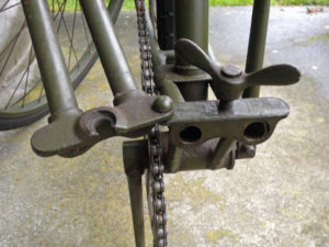 British Army BSA airborne bicycle, 2nd model, made circa 1943 serial number R37618 - folded position showing detail of lower hinge.