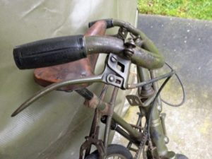 British Army BSA airborne bicycle, 2nd model, made circa 1943 serial number R37618 - folded position showing detail of right brake lever assembly.