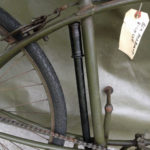 British Army BSA airborne bicycle, 2nd model, made circa 1943 serial number R37618 - Bicycle pump in storage location.