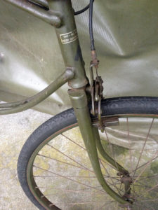 British Army BSA airborne bicycle, 2nd model, made circa 1943 serial number R37618 - Front fork and partial view of the front decals (transfers).
