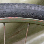 "British Army BSA airborne bicycle, 2nd model, made circa 1943 serial number R37618 - A WAR GRADE tire marking ""MADE IN ENGLAND"""