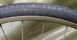 """British Army BSA airborne bicycle, 2nd model, made circa 1943 serial number R37618 - A WAR GRADE tire marking """"MADE IN ENGLAND"""""""