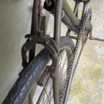 British Army BSA airborne bicycle, 2nd model, made circa 1943 serial number R37618 - WAR GRADE tire tread, rear brake assembly.