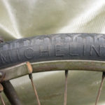 "British Army BSA airborne bicycle, 2nd model, made circa 1943 serial number R37618 - An original WAR GRADE tire marking showing the raised marking ""MICHELIN"". This was one of several manufacturers."