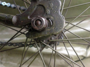 "British Army BSA airborne bicycle, 2nd model, made circa 1943 serial number R37618 - Serial number on left side of frame where rear axle is attached. Note the ""R"" prefix."