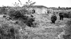 Canadian snipers advancing on an old fort.