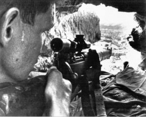"Lance Corporal John Tilley, Royal Marines in the Crater area, Aden, June 1967. He is equipped with a No. 4 MK. I (T) .303"" sniper rifle. (from the book KILL SHOT p116)"