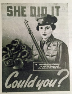 Lyudmila Pavklichenko sniper poster Canadian Army poster CAMT WWII (Colin M Stevens collection)