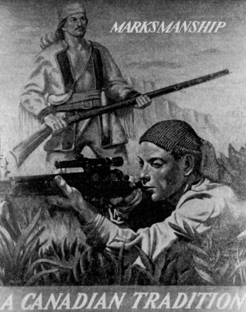 Two men with rifles. Modern one in front, pioneer one behind.