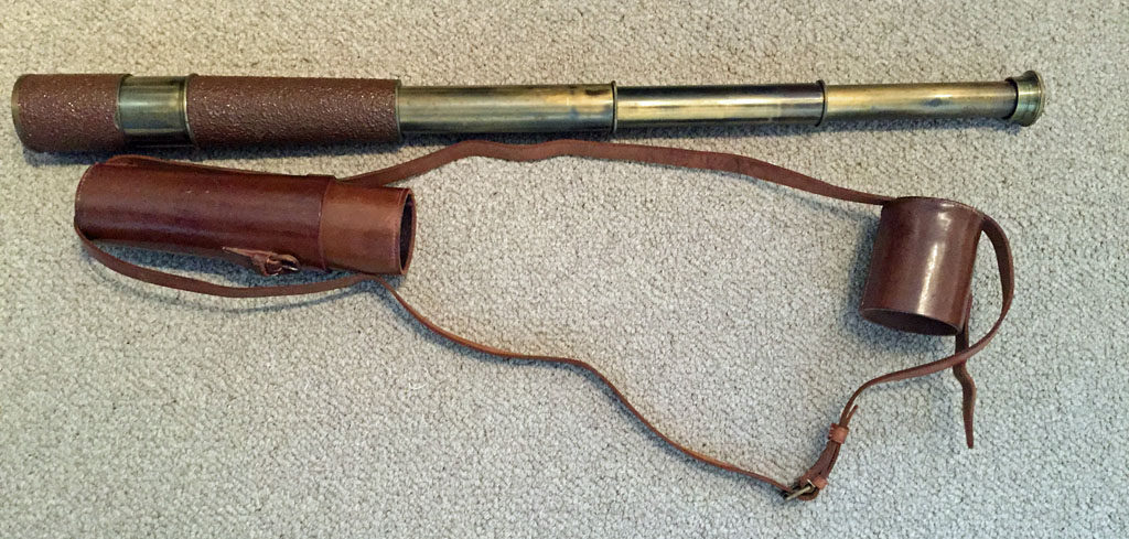 British Scout Regiment Telescope Mark II S. These were issued to sniper teams and were usually carried by the Observer. Most had a leather covering. This one has a later type of water resistant covering. Open position.