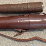 British Scout Regiment Telescope Mark II S. These were issued to sniper teams and were usually carried by the Observer. Most had a leather covering. This one has a later type of water resistant covering. Closed position.