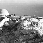Canadian sniper aiming during training.