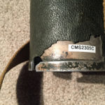 """Markings stamped on the rim of the lid of the carrying case for Telescope, Observing, Sniper's C MK. I made by Research Enterprises Limited in Ontario, Canada """"1945 R.E.L. / CANADA"""" and on lower line """"1945 483-C"""""""